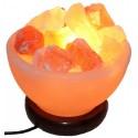 Декоративно обработанная соляная лампа в комплекте ваза с камнями c диммером